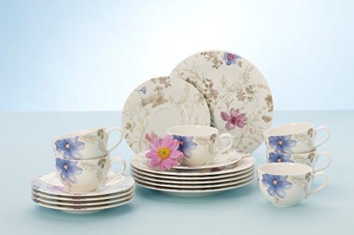 Villeroy & Boch Mariefleur Gris Basic Kaffee Set / Elegantes Geschirr aus Porzellan mit Blumenmuster / 18 teilig für 6 Personen