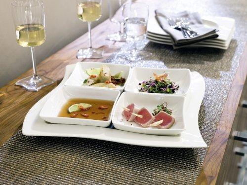 Villeroy & Boch NewWave Frühstücksteller Quadrat / Flacher Teller in gewellter Form aus Porzellan in Weiß / 1 x (24 x 24cm)