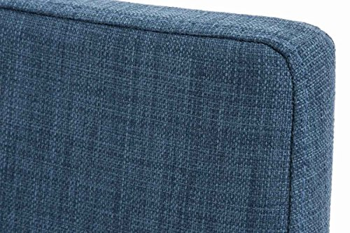 CLP Esszimmerstuhl GRENOBLE mit hochwertiger Polsterung und Stoffbezug | Polsterstuhl mit massivem Edelstahlgestell | Küchenstuhl mit hoher Rückenlehne und einer Sitzhöhe von: 48 cm | In verschiedenen Farben erhältlich Blau