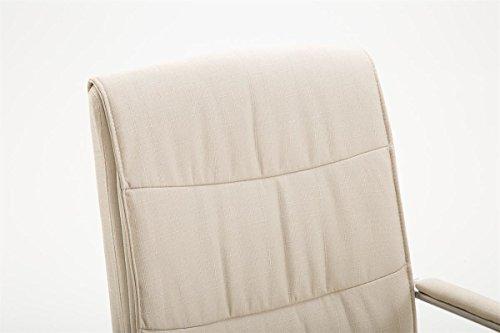 CLP Esszimmerstuhl CARO V2 mit hochwertiger Polsterung und Stoffbezug   Freischwinger mit robustem Metallgestell und Armlehnen   In verschiedenen Farben erhältlich Creme
