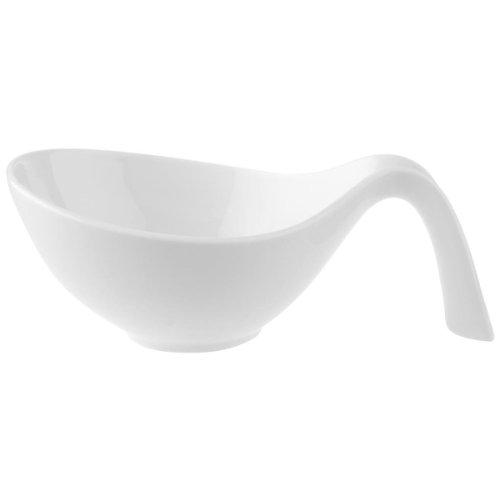Villeroy & Boch Flow Schale mit Griff / Modernes Schälchen mit geschwungenen Formen aus Porzellan in Weiß / 1 x (0,6l)