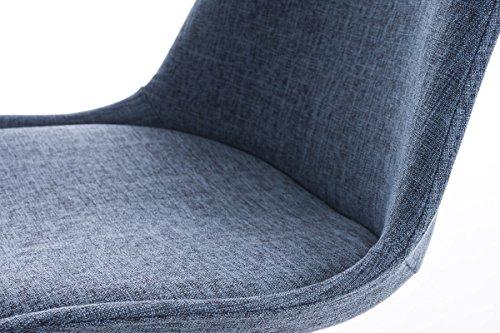 CLP Design Retro-Stuhl PEGLEG SQUARE mit Stoffbezug | Gepolsterter Schalenstuhl mit Holzbeinen und einer Sitzhöhe von: 46 cm | In verschiedenen Farben erhältlich Blau, Holzgestell Farbe natura, Bein-Form eckig
