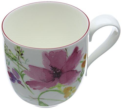 Villeroy & Boch Mariefleur Basic Kaffeebecher mit Henkel / weiße Porzellantasse mit Blumenmuster in zartem Rosa / 1 x Kaffeetasse mit 350 ml Fassungsvermögen / 9 cm hoch