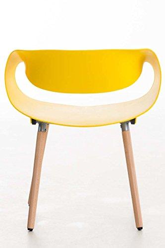 CLP Retrostuhl TUVA mit Kunststoffsitzschale und Holzgestell | Hochwertiger Design-Kunststoffstuhl mit einem Gestell aus Buchenholz | Maximale Belastbarkeit: 150 kg | In verschiedenen Farben erhältlich Gelb