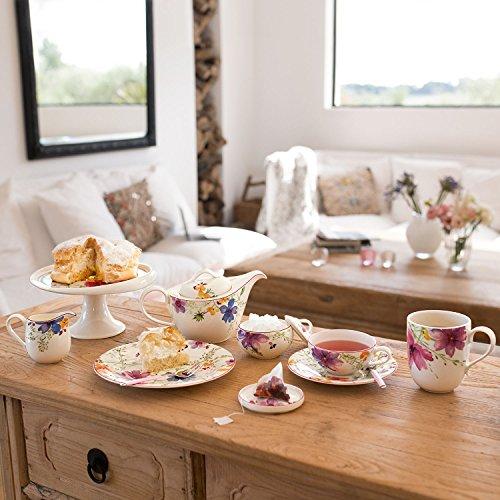 Villeroy & Boch Mariefleur Tea auf Fuß, Geschirr aus hochwertigem Premium in Pink und Grün und Orange, 22, 5 x 22, 5 x 11, 5 cm Gebäckteller, Porzellan, Weiß, 21 x 21 x 7 cm