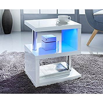 alaska modernes design wei hochglanz couchtisch beistelltisch blau led lichter f r home retro. Black Bedroom Furniture Sets. Home Design Ideas
