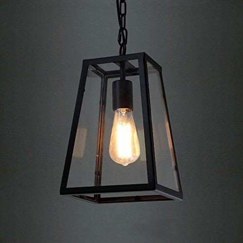 BAYCHEER Laterne Retro Vintage Pendelleuchte Hängelampe Industrie Kronleuchter Deckenlampe E27 Fassung höhenverstellbar mit Glas für Wohnzimmer Esszimmer Restaurant (Glas)