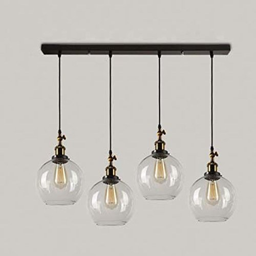 BAYCHEER Retro Pendelleuchte Kronleuchter Hängelampe Glas Lampe 4 Fassung mit Boden für Esszimmer Wohnzimmer Cafe Pub Restaurant Halle Hotel