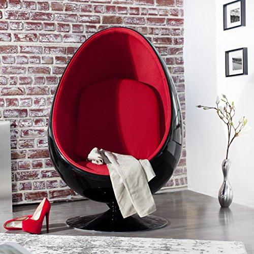 Cagü Retro Lounge Designer Sessel Sitzei Egg Ball Schwarz Rot