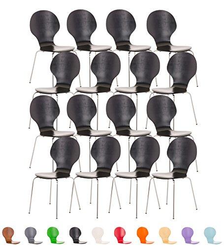 CLP 16 x Stapelstuhl DIEGO V2 ergonomisch geformter Konferenzstuhl mit Holzsitz und stabilem Metallgestell   16 x Platzsparender Stuhl mit pflegeleichter Sitzfläche   In verschiedenen Farben erhältlich Schwarz