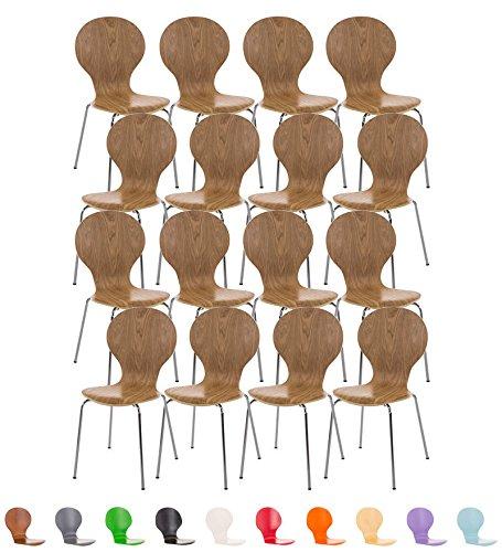 CLP 16x Stapelstuhl DIEGO mit Holzsitz, ergonomisch geformt, robust, pflegeleicht, bis zu 12 Farben wählbar eiche
