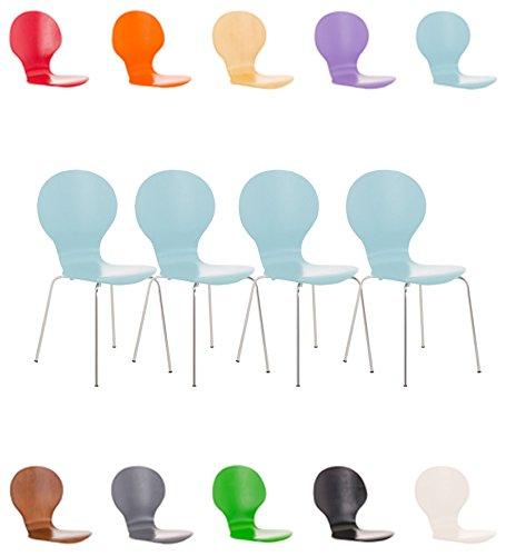 CLP 4x Stapelstuhl DIEGO ergonomisch geformter Konferenzstuhl mit Holzsitz und stabilem Metallgestell | 4x Platzsparender Stuhl mit pflegeleichter Sitzfläche | In verschiedenen Farben erhältlich Hellblau