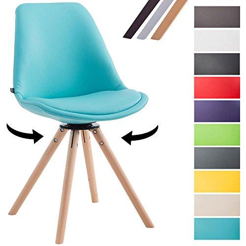 CLP Besucherstuhl CALAIS mit Kunstlederbezug und Buchenholzgestell   Drehbarer Lehnstuhl mit runden Holzbeinen   In verschiedenen Farben erhältlich Blau, Gestellfarbe: Natura