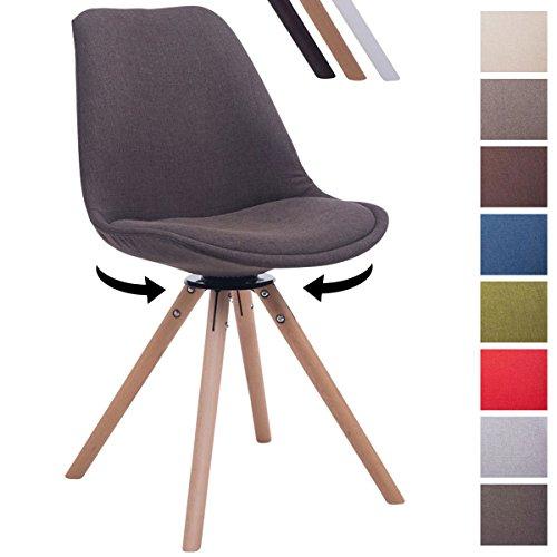 CLP Design Retro-Stuhl TROYES RUND mit Stoffbezug und hochwertiger Polsterung   Drehbarer Stuhl mit Schalensitz und massiven Holzbeinen   In verschiedenen Farben erhältlich Dunkelgrau, Holzgestell Farbe natura, Bein-Form rund