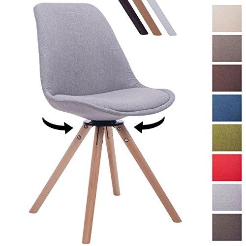 CLP Design Retro-Stuhl TROYES RUND mit Stoffbezug und hochwertiger Polsterung | Drehbarer Stuhl mit Schalensitz und massiven Holzbeinen | In verschiedenen Farben erhältlich Grau, Holzgestell Farbe natura, Bein-Form rund