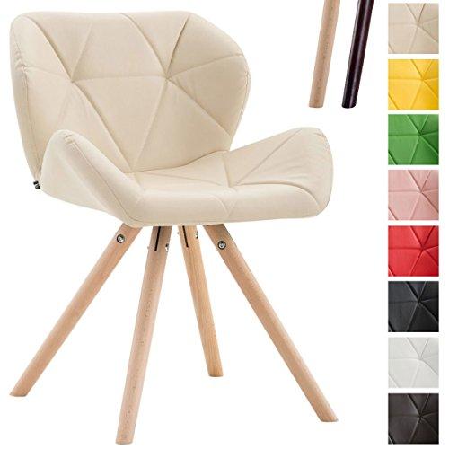 CLP Design Retrostuhl TYLER mit hochwertiger Polsterung und Kunstlederbezug   Esszimmerstuhl mit stabilem Buchenholzgestell (rund) und einer Sitzhöhe von 42 cm Creme, Gestellfarbe: Natura