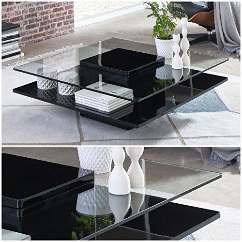 Couchtisch schwarz Hochglanz quadratisch Porto 100x100cm Glastisch Designer-Tisch