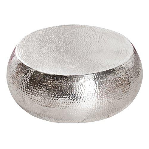 Design Couchtisch ORIENT 80 cm Aluminium-Metall-Legierung silber Hammerschlag Optik Unikat Tisch Handarbeit
