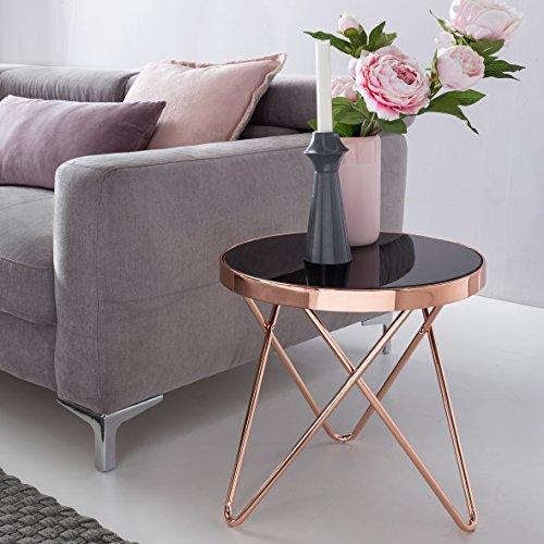 design couchtisch round mini 42 cm rund glas kupfer lounge beistelltisch verspiegelt. Black Bedroom Furniture Sets. Home Design Ideas