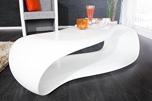 DuNord Design Couchtisch Sofatisch GRAVITY weiß 110cm hochglanz modern Fiberglas Design Lounge Tisch