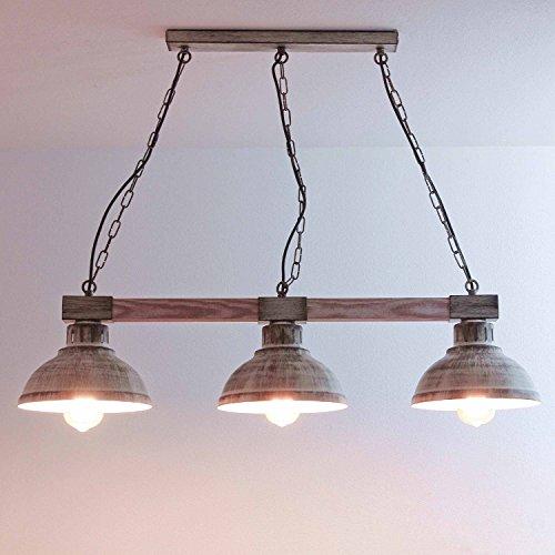 Hängeleuchte Esstisch Vintage / weiß / Holz und Metall / Pendelleuchte Esszimmer / rustikal / 3x E27 bis zu 60 Watt 230V / Retro Küche Shabby Chic Lampe