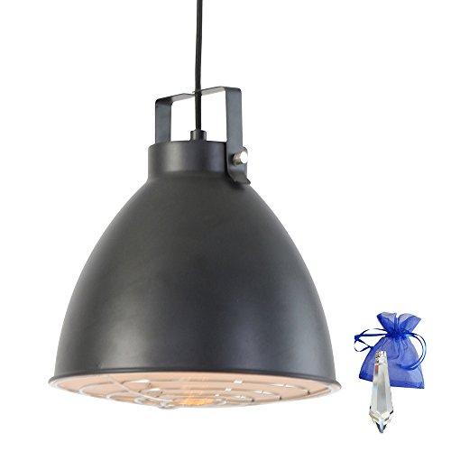 Hängeleuchte Schwarz matt im Vintage Fabrik-Lampen Industrial Design E27 Retro Industrie-Lampe Werkstattleuchte Pendellampe Küchenlampe + Giveaway