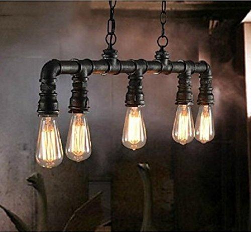 KJIARS Vintage Pendelleuchte Industry Design Pendellampe Metall Wasserrohre Hängeleuchte Schwarz Hängelampe Bar Restaurant Wohnzimmer Retro Kronleuchter