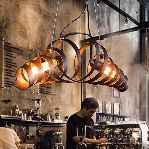 KJLARS Vintage Pendellampe Kronleuchter Retro Design Pendelleuchte Metall Hängeleuchte Bar Cafe Deckenleuchter 2x E27 Brine