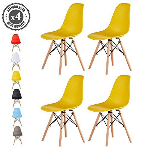 MCC Retro Design Stühle LIA im 4er Set, Eiffelturm inspirierter Style für Küche, Büro, Lounge, Konferenzzimmer etc., 6 Farben, KULT (gelb)