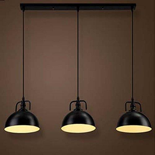 NIUYAO Industrie Kronleuchter Metall Loft Kuppelform 3 Licht Hänge Pendelleuchten Schüssel Lampenschirm Innenbeleuchtung Retro-Schwarz