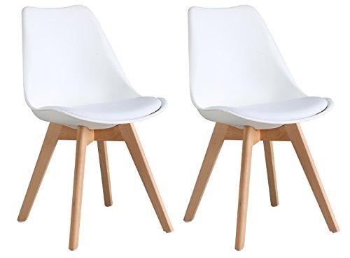 OYE HOYE Retro Designer Stuhl Esszimmerstühle Wohnzimmerstühl, mit bequem Gepolstertem Sitz, aus Hochwertigem Strapazierfähigem Kunststoff und Buchenholz - Weiß/2er Set