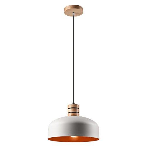 pendel leuchte decken leuchte aus metall holz e27 h nge leuchte farbe weiss orange vintage. Black Bedroom Furniture Sets. Home Design Ideas