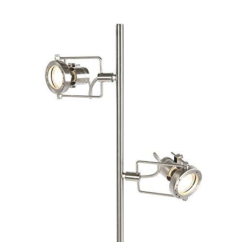 QAZQA Industrie/Industrial/Modern/Stehleuchte mit Leseleuchte/Stehlampe/Standleuchte/Lampe/Leuchte Suplux 2-flammig Stahl/Silber/nickel matt/Innenbeleuchtung/Wohnzimmer/Schlafz