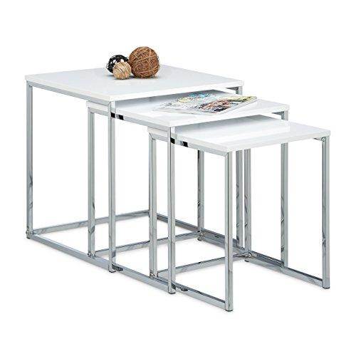 Relaxdays Beistelltische 3er Set, Couchtisch, Holz, Metall, Satztische,  modernes Design, HxBxT: ca. 42...