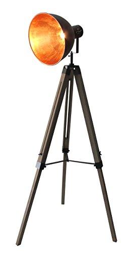 STATIV STEHLEUCHTE STUDIOLAMPE STEHLAMPE SPOT Schwarz/Gold Lampe Höhe:95-143cm 605455 Retrolampe Tripod
