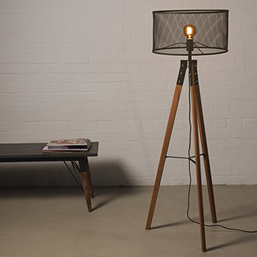 stehlampe 150cm retro holz mit fu schalter inkl schirm stativ lampe vintage industrie tripod. Black Bedroom Furniture Sets. Home Design Ideas