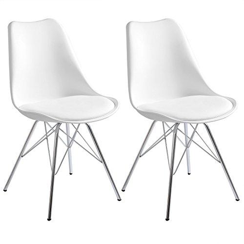 WOLTU 2er Set Esszimmerstühle Küchenstühle Wohnzimmerstuhl Polsterstuhl Design Stuhl Kunstleder Gestell aus verchromtem Stahl Weiß BH05ws-2