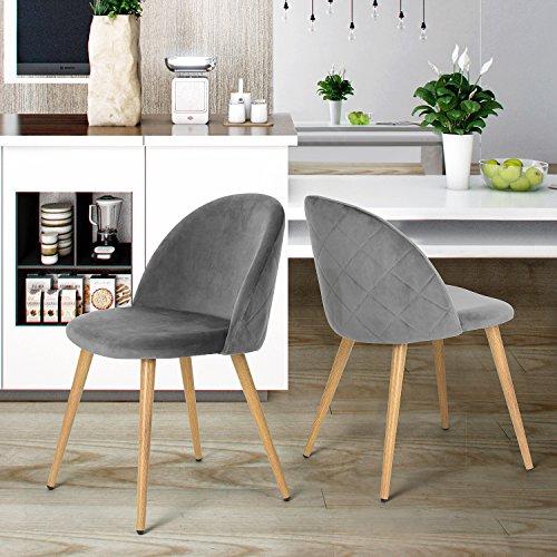 coavas esszimmerstuhl samt weich kissen sitz und r cken mit h lzernen metallbeine k che st hle. Black Bedroom Furniture Sets. Home Design Ideas