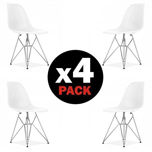 due-home (Steel)–Pack 4Stühle Esszimmerstuhl, weiße Tower Metall Stil Nordico, Maße: 82cm (Höhe) X 46(Breite) cm x 52cm (Fonds)