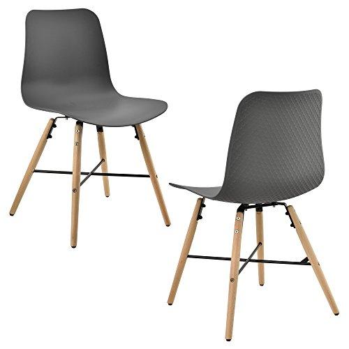 [en.casa] Designstuhl im 2er-Set - 80 x 44,5cm - grau - Esszimmerstuhl Kunststoff Retro