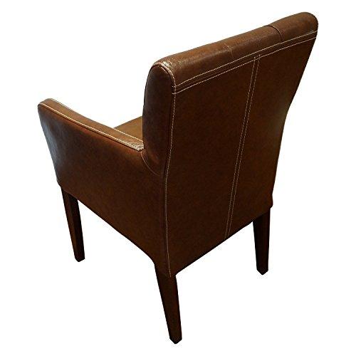 Echtleder Stühle David Arm Pik Brown 3000 Lederstühle Sessel mit Armlehnen Echt Leder Esszimmer Stuhl