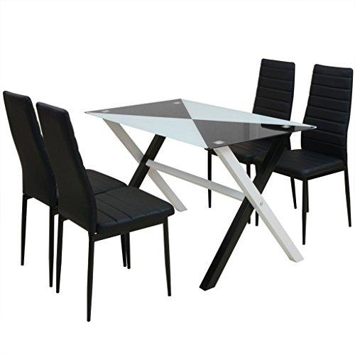 Festnight 5-tlg. Essgruppe Esstisch + 4 Stühle Esszimmertisch Essstuhl Küchenstühle Kunstleder Küchenmöbel Esszimmer Set
