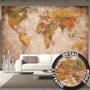 Fototapete Weltkarte - Wandbild used look Dekoration - old school vintage world-map - Globus Kontinente Atlas retro - Weltkugel Geografie - Foto-Tapete Wandtapete Fotoposter Wanddeko by GREAT ART (336 x 238 cm)