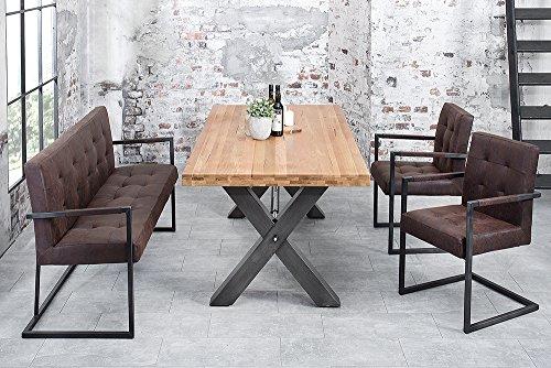 Hochwertiger Freischwinger Stuhl RODEO Sattelleder vintage braun mit Armlehne Eisengestell