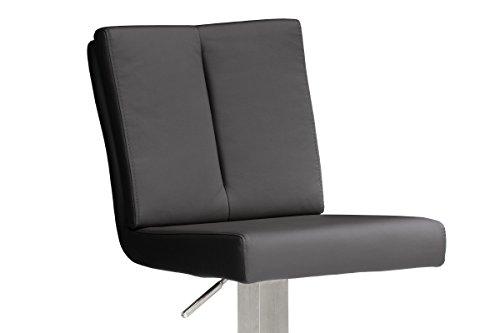 Robas Lund Stuhl, Barstuhl, Barhocker, Bru.ni, 360 Grad drehbar, Edelstahl/schwarz, 50 x 42 x 114 cm, BRRE10SX