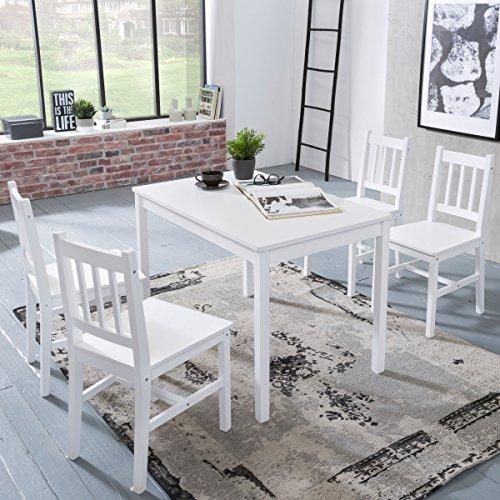 WOHNLING Esszimmer-Set EMIL 5 teilig Kiefer-Holz weiß Landhaus-Stil ...