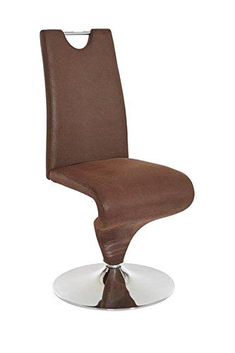 CAVADORE Schwingstuhl im 2er Set TRACY / 2x Esszimmerstuhl im Vintage - Look / Stuhl mit Griff und Fußteller / Bezug Kunstleder BRAUN und verchromten Tellerfuß / 49 x 102 x 53,5 cm (BxHxT)