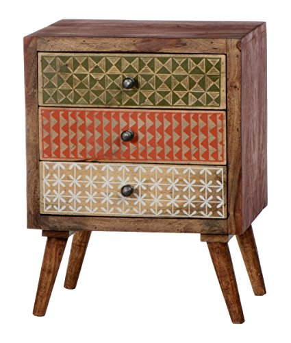 Sit Möbel Scandi 4359-01 Kommode,3 bemalte Schubladen, aus Sheesham-Holz, natur, 45 x 60 x 33 cm