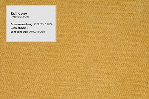 CAVADORE Wohnlandschaft Tabagos/U-Form mit Ottomane rechts/XXL Sofa mit Sitztiefenverstellung/Kopfteilverstellung/364 x 85-96 x 248 (B x H x T)/Farbe: Curry (gelb)