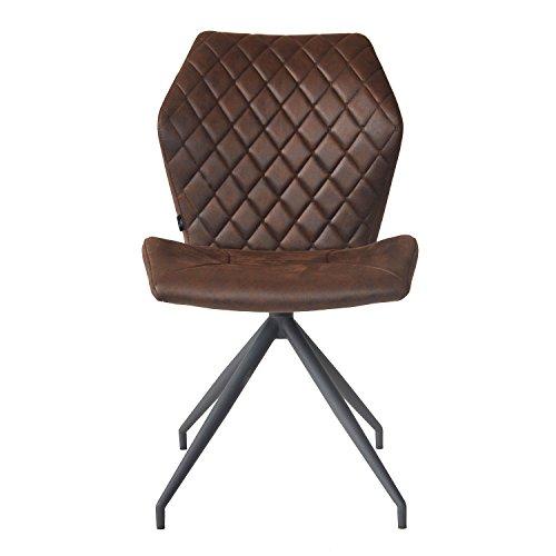 Damiware Rocky Esszimmerstühle 2er set | Design Stuhl mit Stoffbezug | Burgundy Braun (Burgundy)